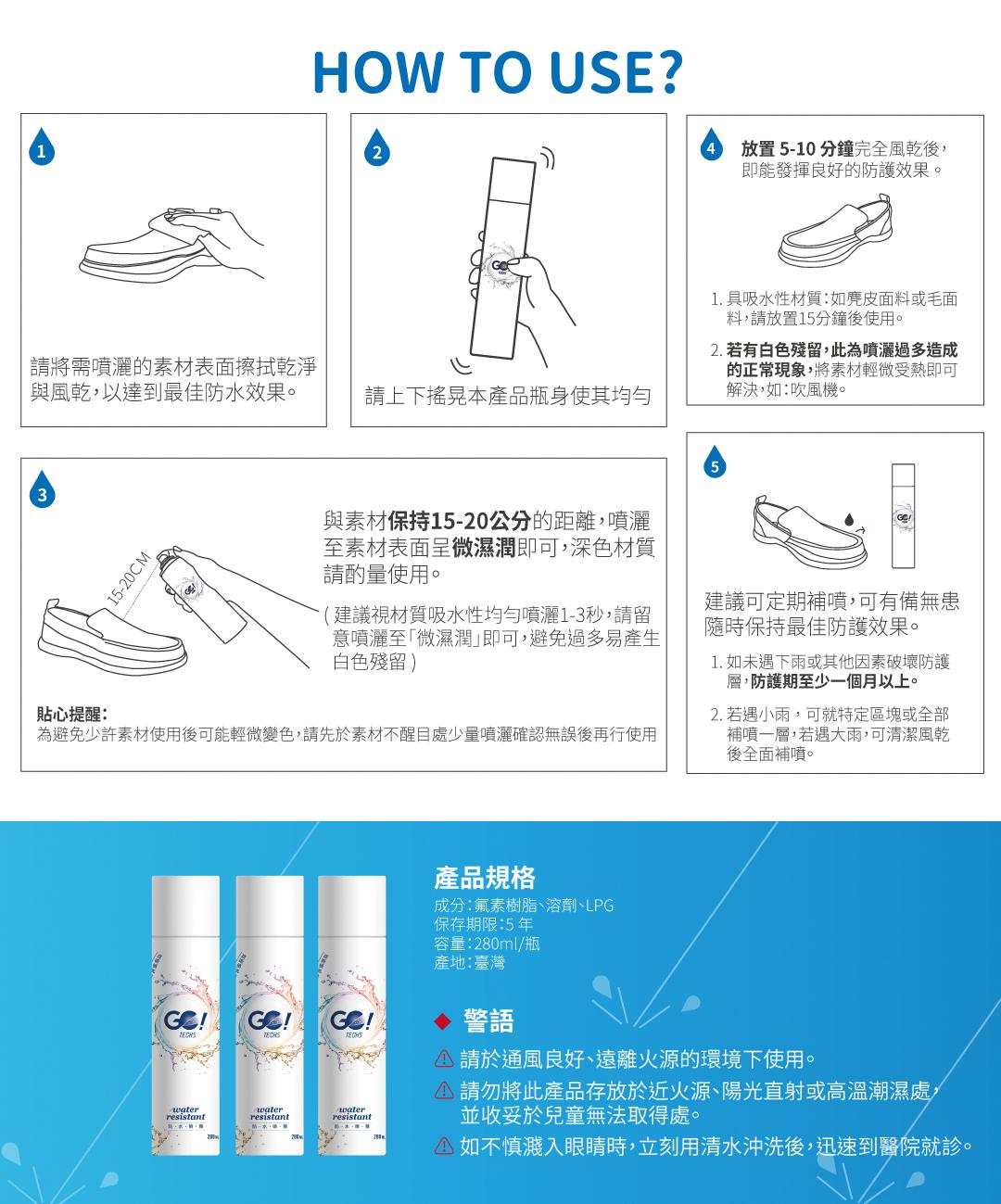 高適用性 不傷材質 不影響透氣 長效防水防油髒污